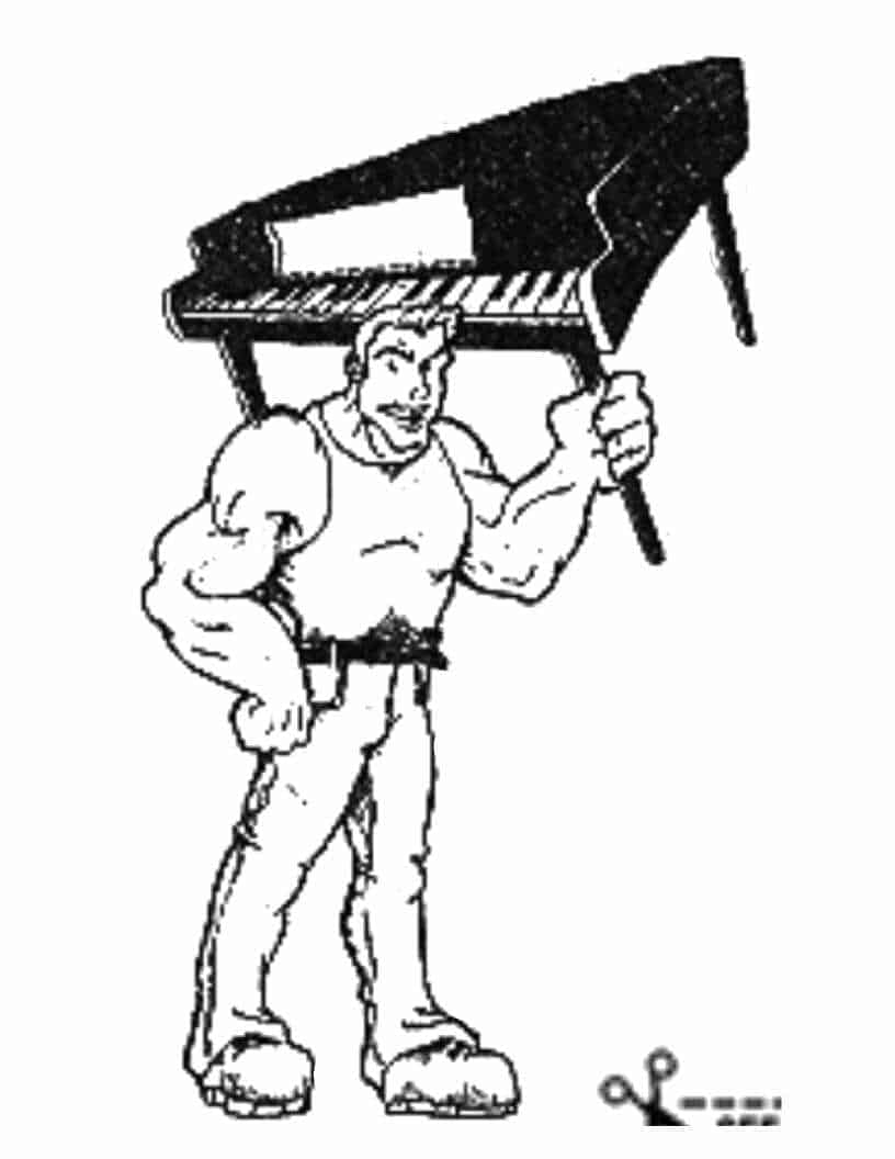 drawing of a mover holding a grand piano with his left hand only