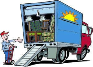 a fun cartoon-like drawing of a mover and moving truck