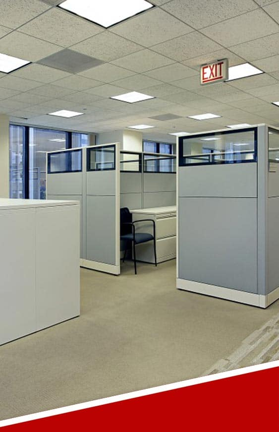 cubicles inside an office that is getting ready to move