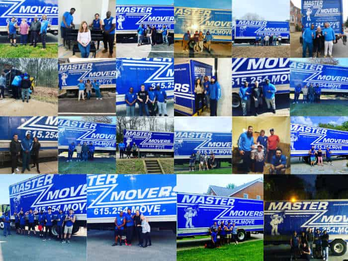 a collage of customer photos for Master Movers LLC